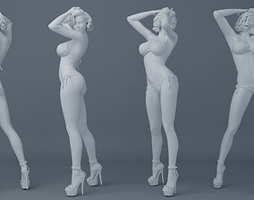 3D printable model Short hair girl wearing bikini 003