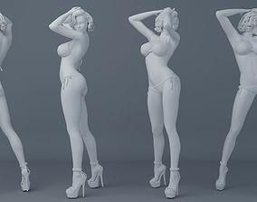 3D printable model Short hair girl wearing bikini 003