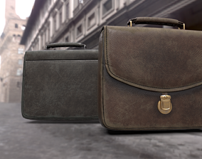 Old used Leather briefcase 2 colors 3D asset