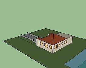 Garage house model Low poly 3D asset