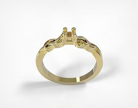 Jewelry Golden Braided Tangled Ring 3D print model