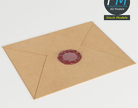 3D model Closed envelope with sealing wax