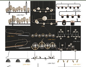 game-ready Chandelier collection low poly 3d model