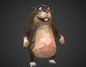 Gopher Cartoon Grey Low Polygon Art Farm Animal 3D asset