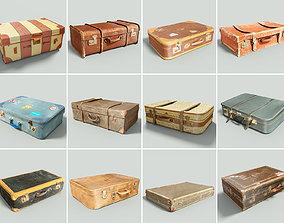3D asset 12 Vintage Suitcases Retro Valise Collection