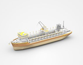 3D Large Brown Freight Ship