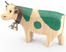3D Carved Wooden Cow