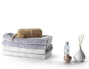 Stack of Towels with Bag Perfume and Vase 3D