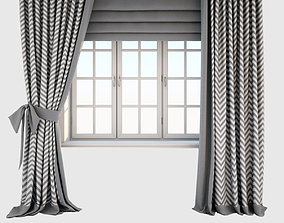 3D Two-color gray-white curtains