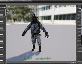 3D model Rigged Fireman Hazmat Suit Doctor