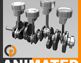3D Animated L4 Engine Cylinders