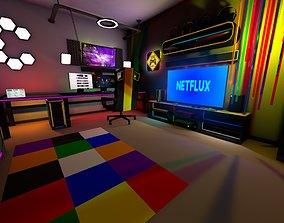 3D model Gamer Live Streamer Room