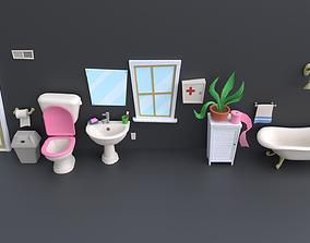 Cartoon Bathroom Props Collection 3D asset