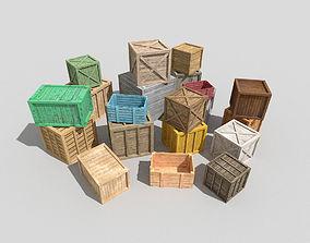huge wooden crates pack 3D asset