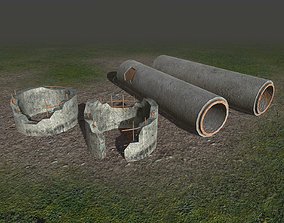 3D model Concrete tubes and pipes - PBR - lowpoly -