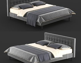 3D model Overstock Double Bed Gray PostureLoft Mornington