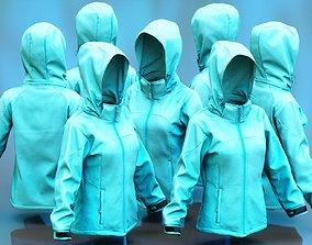 Green Sports Pull Hoodie 3D asset