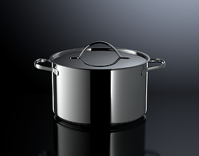 3D Photorealistic Brushed Stainless Steel Cooking Pot