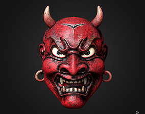 Old Japanese Hannya Demon Red Mask 3D model