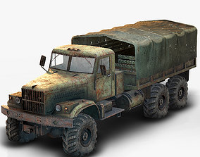 Low Poly Kraz 255 Flatbed Rusted 3D asset