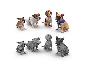 Dog Collection x4 3D model