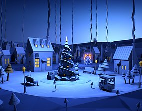 3D model Stylized winter village lowpoly bundle