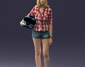 3D posed Girl with motorcycle helmet 0623