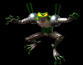 Cybernetic Frog - low poly 3D