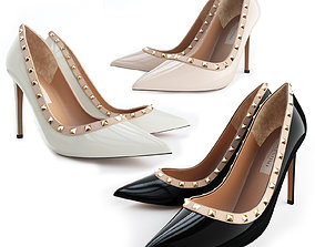 3D Valentino Rockstud Patent Leather 100mm High Heels