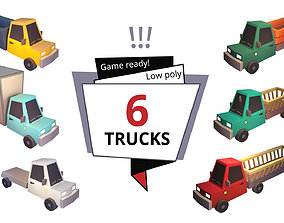 3D model Low poly car truck collection top down isometry