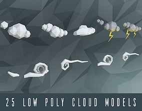 Low poly clouds 3D asset