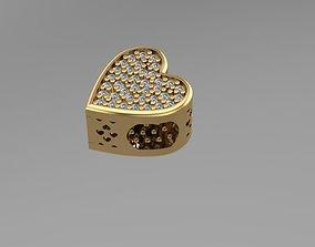 3D printable model bracelets stoned heart charm ball