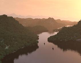 twilight mountain Lake water landscape 3D model