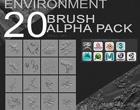 20 Environment Brush Pack and Maps 3D model