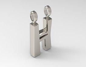 H Letter Pendant Platinum 3D printable model