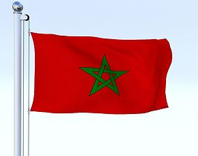 Animated Morocco Flag 3D model