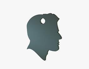 Head in profile keychain 3D print model silhouette
