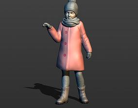 Little girl in a coat 3D print model