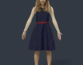 Animated Teenage Girl Dress A-pose - E- rigged 3D model 2