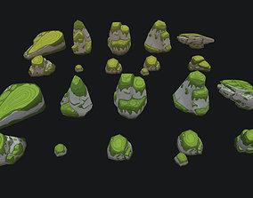 3D asset Painted Jungle Stones