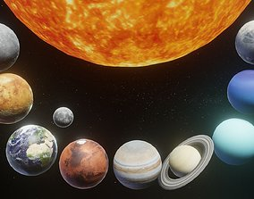 Photorealistic Solar System Moon Included 2k Textures 3D
