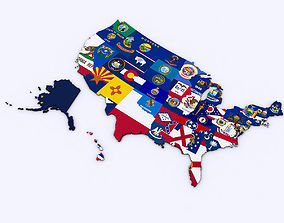 3D US Political Map with Counties