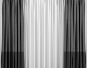 Two-tone curtains with tulle 3D model