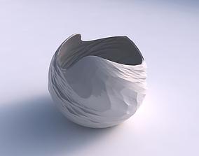 3D printable model Bowl spheric wavy with rocky fibers