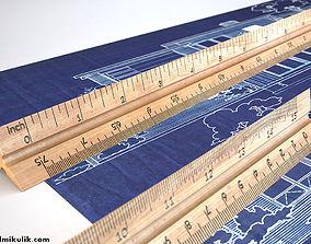HD Wooden Ruler 6 real scale desk 3D model