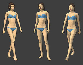 3D asset Rigged Lowpoly Female Character - Caren