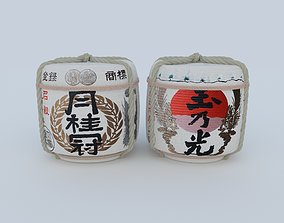 3D model 2 Japanese Sake Barrels