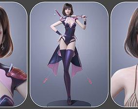 3D model CG Woman girl warrior beauty female character