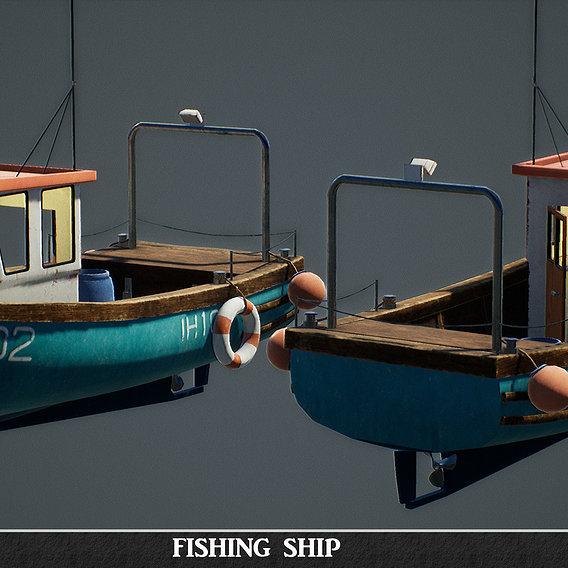 Fishing ship game-ready asset