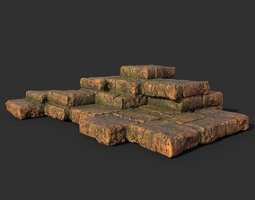 3D model Low poly Terracotta Ruin Medieval Construction 10